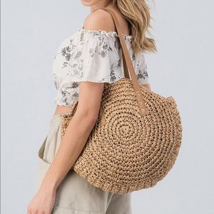 •LAST 1• Boho Handmade Rattan Bag w Leather Straps